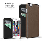 iPhone 6 PLUS Flip Case Wallet + 2 CC Slots BROWN / RED HANDCRAFTED REAL LEATHER