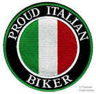 PROUD ITALIAN BIKER iron-on PATCH ITALY FLAG MOTORCYCLE embroidered TOPPA