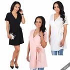 Womens Wrap Over V Neck Mini Belted Dress Ladies Short Sleeve Batwing Tunic