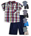 Boys Check Shirt New Kids Top And Shorts Outfit Summer Set Navy Red Ages 2 Years