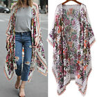 Women Boho Beach Loose Floral Print Long Sleeve Casual Open Cardigans Maxi Tops