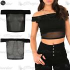 Womens Ladies Off Shoulder Bardot Crochet Mesh Detail See Through Cropped Top