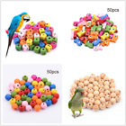 50pcs Wood Beads Parrot Toy Parts Pet Birds Toys DIY Accessory Cage Craft Lot