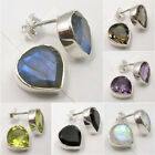 925 Silver HEART Stud Post Earrings ! LABRADORITE & Other MORE Stones Variation