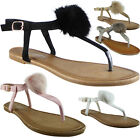 New Womens Ladies T-Bar Fur Pom Pom Toe-Post Shoes Peeptoe Sandals Flats Size
