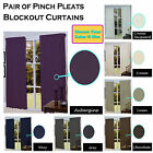 Pair of Pinch Pleats Total SUNOUT / BLOCKOUT Coated Heavy Weight Curtains