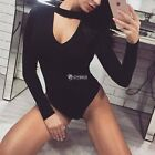 Sexy Women Long Sleeve Choker Back Zipper Stretch Leotard Top Solid Slim DZ8801