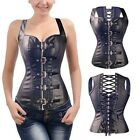 Womens Black Daily Shapewear Sexy Lace Up Corset Faux Leather Zipper Top Bustier