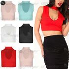 Womens Ladies Sleeveless Choker Neck Keyhole V Plunge Cut Crop Cropped Top
