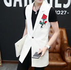 Mens Embroidered Floral Cotton Blend Casual Leisure Coat Vest jacket Sleeveless