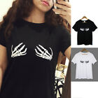 Summer Women's Short Sleeve T-shirt Hand Printed Casual Loose Cotton Tops Blouse