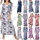 Womens 3/4 Sleeve Floral Printed Ladies Evening Cocktail Long Maxi Dress 8-26
