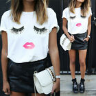 Summer Women's Fashion Eyelash Cute Loose Short Sleeve Blouse Cute T Shirt 2017