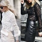 Women Casual Lace Floral Blouse Ladies Long Sleeve Shirt T-Shirt Pullovers Tops