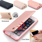 For iPhone 7 6 Plus Genuine Leather Card Slot Case Wallet Shockproof Stand Cover