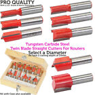 """½"""" Shank Tungsten Carbide Twin Blade Straight Cutting Router Bits – Metric Sizes"""