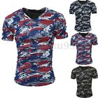 Stylish Mens Casual Fitted Summer V Neck Camouflage Short Sleeve T Shirt Tee Top