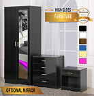 Harmin High Gloss Bedroom Furniture - Soft Close Wardrobe Chest Bedside