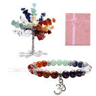 7 Chakra Gemstone Feng Shui Tree Decoration+Beads Stretch Bracelet Mother's Gift