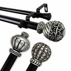 """Knighted Two-tone Collection Double Curtain Rod 1"""" choose from 3 finials&5sizes"""