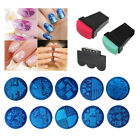 10 Pc Nail Art Stamp Stencil Stamping Template Plate Set Tool Stamper Design Kit