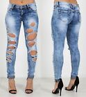 Ladies Womens Denim Jeans Distressed Ripped Blue Slim Fit Jean Trouser Pants