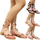 Ladies Women Flat Flower Ankle Strap Metallic Summer Toe Post Sandals Shoes Size