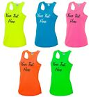 Personalised Ladies Cool Sports Vest 8-16 Neon Fluorescent Printed Customised