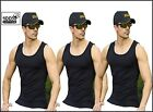 3 pieces MENS BLACK 100% COTTON FITTED VESTS SLEEVELESS GYM TRAINING SUMMER TOP