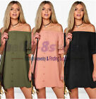 Large Size Womens New Fashion Solid Boat Neck Dress  Off Shoulder Loose Dress