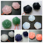 25MM Natural Gemstone Rose Pendant Necklace Bead 2pcs