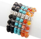 New Fashion Men's Turquoise Agate Stone Buddha Beaded Charm Bracelet Gift