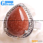 Natural 16x18mm Teardrop Gemstone Fashion Jewelry Silver Plated Finger Ring GB
