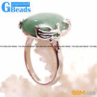 Natural 18x20mm Gemstone Fashion Jewelry Silver Plated Finger Rings For Women GB