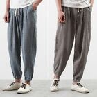 Retro Men's Skinny Casual Loose Harem Pants Cotton Linen Trousers Summer Comfort