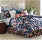 Chaps CAPE COD Reversible Comforter Set - Cottage Rose Floral & Stripes - Blue