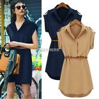 Women Cap Sleeve Stretch Chiffon Casual Office Wear Shirt Mini Dress w/ Belt KE#