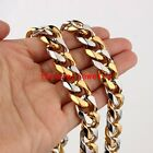 8-19mm New Stainless Steel Silver Gold Black Cuban Chain Men Women Bracele 7-11*