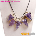 Ladies Natural Stone Amethyst Gold Plated Necklace Druzy Drusy Pendant Jewelry