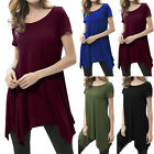 Women New Summer Short Sleeve Waterfall Asymmetric Hem Basic T-Shirt Tops Blouse