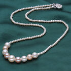 AAA10-11+3-4mm White, pink, purple natural freshwater pearl necklace