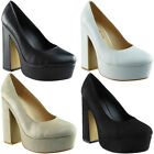 New Womens Ladies Office Work Platform Chunky Block Heel Party Court Shoes Size