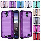 FOR ZTE PRESTIGE 2 N9136 BRUSHED ARMOR CASE HEAVY DUTY COMBAT TPU COVER+STYLUS