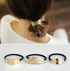 Fashion Girl Golden feather oval rectangle Hair Band Rope Ponytail Holder