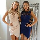 Sexy Women Lace Floral Irregular Club Bodycon Party Cocktail Short Mini Dress