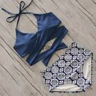 New Women Lace Up Halter Swimsuit Bikini Set Bathing Beachwear Swimwear TXCL01