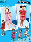 SIMPLICITY SEW PATTERN 2193 CHILD GIRLS DRESS PROJECT RUNWAY SIZES 1/2-3 or 4-8