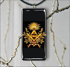 FREEMASON ILLUMINATI COMPASS SYMBOL RECTANGULAR GLASS PENDANT 2 SIZES -dvq2Z