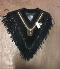 Ladies Fancy Beaded & Fringed Suede Leather Poncho New LV4