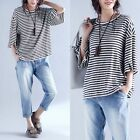 Women Cotton Plus Size Top Bat Sleeve Blouses Pullover Loose Thin Casual T-shirt